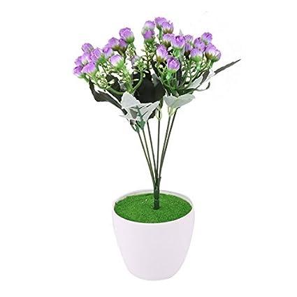 eDealMax plástico del hogar del arte de DIY decorativo simulación Artificial de la Flor púrpura