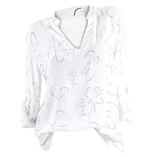 con Top Bianco scollo lunga donna Camicetta camicetta Aimee7 Chic a manica V taglia grande Casual 1APWw0