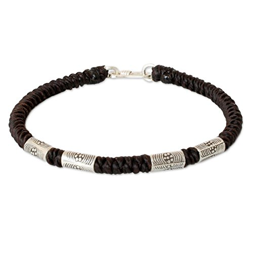 NOVICA Braided Macrame Cord Bracelet with .950 Silver Accents, 7.75