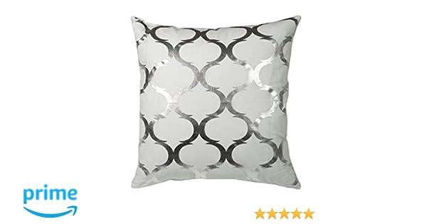 Urban Loft by Westex Foil Square Silver/White Sofa Cushion Decorative Throw Pillow Cover 20 x 20