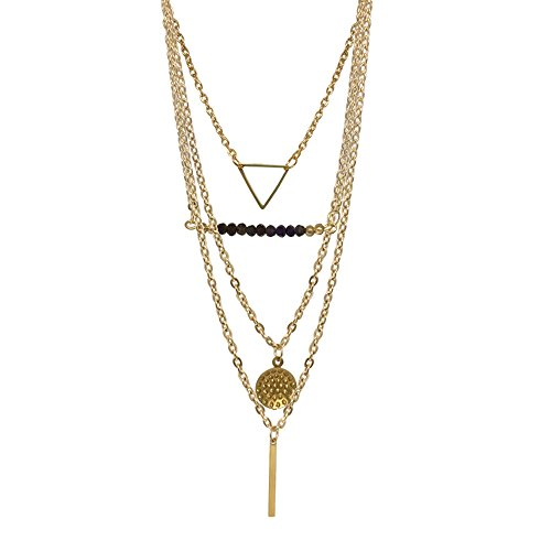 FASHION Beaded Gold Multi-Layered Necklace in Gold Tone Base Metal. Necklace first layer is 15.75