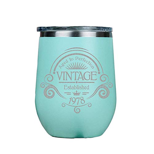 IT'S A SKIN Vintage 1978 - Stainless Steel Stemless Wine Insulated Tumbler with Clear lid 12oz Red or White Great Gift for Her, Him Travel Includes Free Wine/Food Pairing Card - Teal - Cup Friends Party