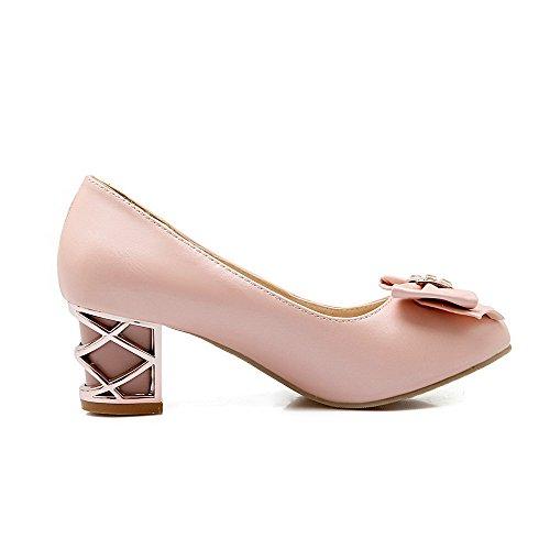 Damen Weiches Material Gemischte Farbe Rund Zehe Mittler Absatz Pumps Schuhe, Pink, 35 VogueZone009