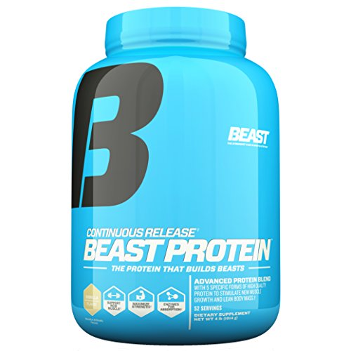Beast Sports Nutrition Beast Protein 25 Grams of High-Quality Protein with 5 Protein Sources for Lean Muscle including Whey Concentrate and Isolate. Low Fat Low Carbs. 4lbs, 52 Servings, Vanilla
