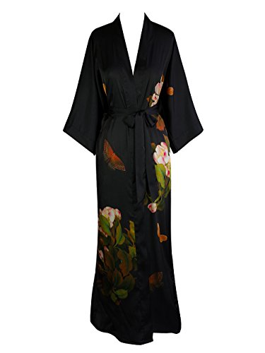 (Old Shanghai Women's Kimono Robe Long - Watercolor Floral, Peony & Butterfly- Black)