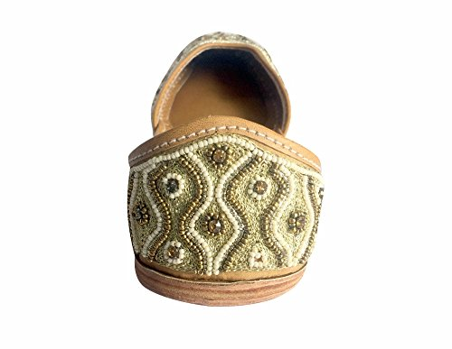 Step N Style Mujeres Zapatos Khussa Punjabi Jutti Ethnic Mojari Bailarina Plana Zapatos De Novia De Cobre