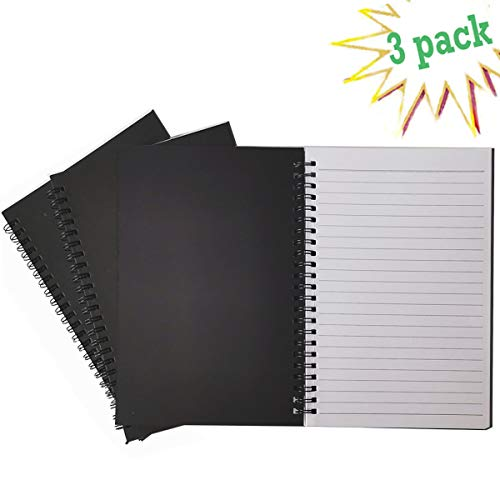 (Spiral Notebook, College Ruled Notebook, Thick Paper 1 Subject, 3 Pack, 60 Sheets, 6''8'' (Line, Black))