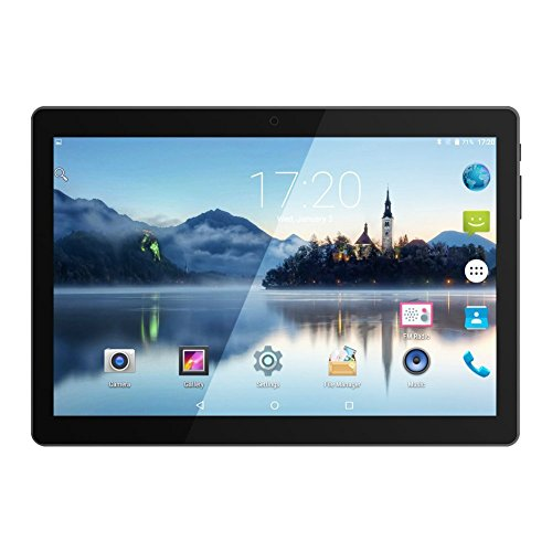 Huashe 10 inch 3G Unlocked GSM Phone Call Android Tablet Eight Core IPS Screen Dual Sim Card Slots Dual Cameras GPS Wifi Bluetooth (Metallic Black) by Huashe