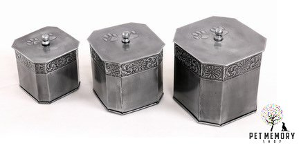 Urn for Pets New Choose from 2 Styles Antique Paw Prints for Dogs, Cats, Other Animals (Silver)