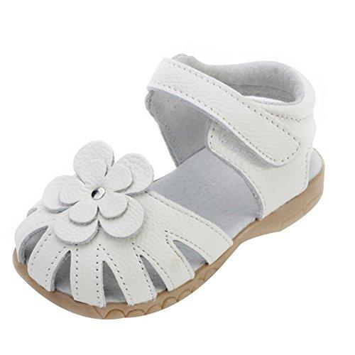 Oderola Mädchen Sommer Sandale mit weichen Sohlen Baby Leder Lauflernschuhe Weiß