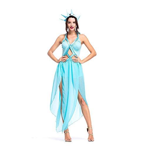 Women's Statue of Liberty Costume Goddess Sexy Fancy Dress Sky Blue