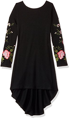 Biscotti Girls' Midnight Garden Knit Dress With Embroidered Sleeves