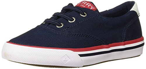 SPERRY Boys' Striper II Jr Boat Shoe, Navy, 12 Medium US Little Kid ()