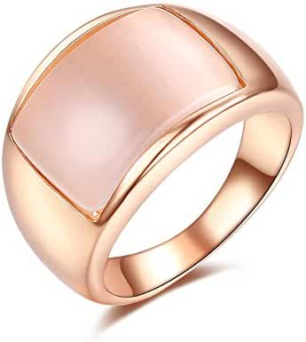 Redbarry Trendy Simulated Opal 12mm Unisex Wide Cocktail Thumb Ring 18k Gold Plated for Women, Size 5.5 to 11