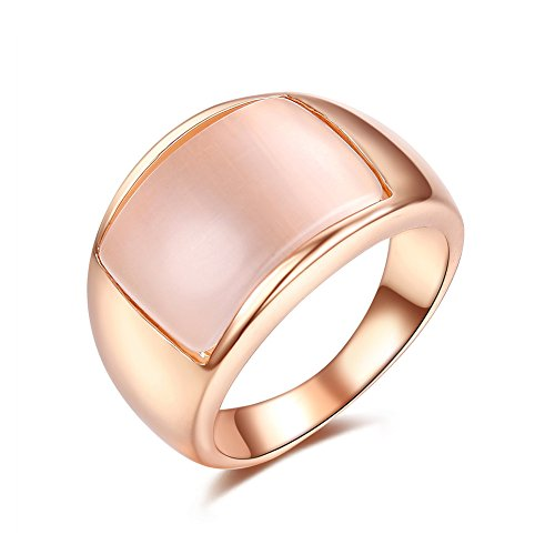 (Redbarry DIFINES Milky Simulated Opal Stone Wide Party Unisex Cocktail Ring, Size 5.5)