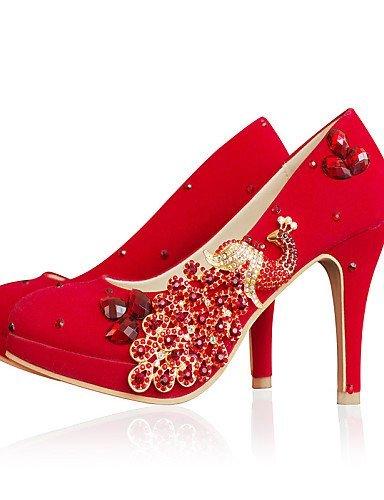 Mariage Talons Shangyi Cônes Rond À Chaussures Talon 3in Rouge Bout Femmes Pompes pqw18xzU
