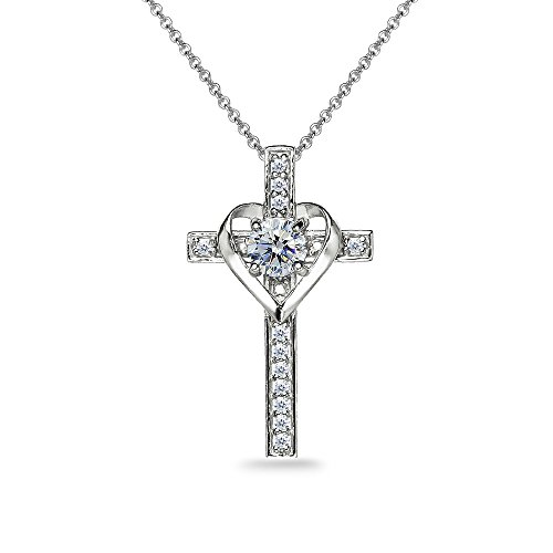 Sterling Silver Clear Heart in Cross Pendant Necklace Made with Swarovski Crystals ()