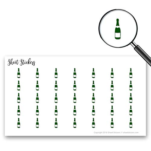 Champagne Alcohol Bubbles Bottle Bar, Sticker Sheet 88 Bullet Stickers for Journal Planner Scrapbooks Bujo and Crafts, Item 256076 ()