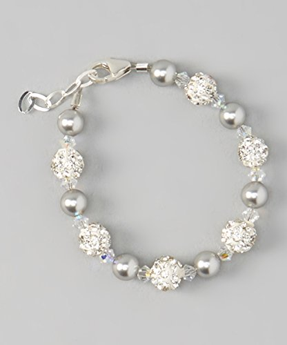 Crystal Dream Luxury White Pave Beads with Grey Swarovski Simulated Pearls and Clear Crystals Sterling Silver Stylish Unisex Baby Bracelet (BGSH_M) (Pave Crystal Beads Set)