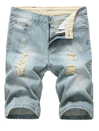 Lavnis Men's Casual Denim Shorts Classic Fit Distressed Summer Fashion Ripped Short Jeans Light Blue ()
