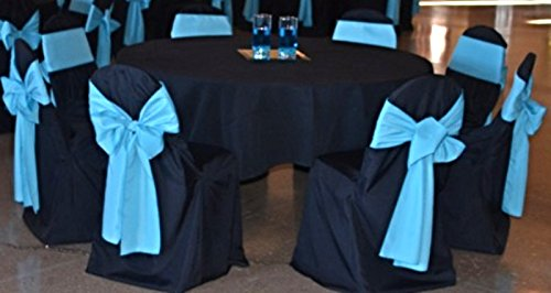 SPRINGROSE Black Polyester Standard Round Top Banquet Wedding Chair Covers (set of 10). Chair Sash is Not Included.