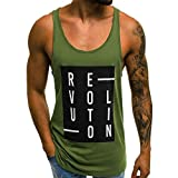 Forthery Men Gym Tank Tops Workout Fitness Muscle Letter Printed Sleeveless Vest(Green,US Size M = Tag L)