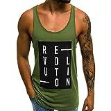 Allywit-Mens Print Stringer Bodybuilding Gym Tank Tops Workout Fitness Vest M-2XL Green