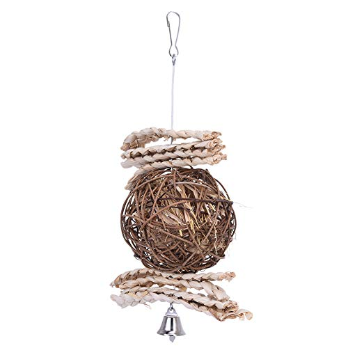 RUIYI Handmade Parrot Hanging Toy Rattan Ball Bird Chewing Toys with Corn Husk Small Medium Large Parrots Supplies Cage Decoration Accessories for Parakeet Cockatoo ()