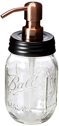 (Industrial Rewind Mason Jar soap Dispenser - 16oz Clear Pint Ball Mason Jar with Black lid/Smooth Action Copper Pump)