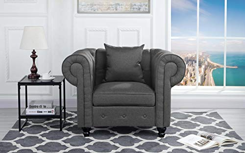 Linen Fabric Accent Chair (Classic Scroll Arm Large Linen Fabric Living Room Chesterfield Accent Chair (Light Grey))