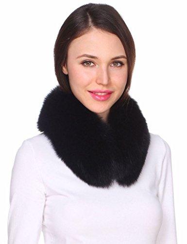 Ferand Women's Elegant Warm Real Fox Fur Stand-up Collar Scarf, Soft Neck Warmer for Winter, Black