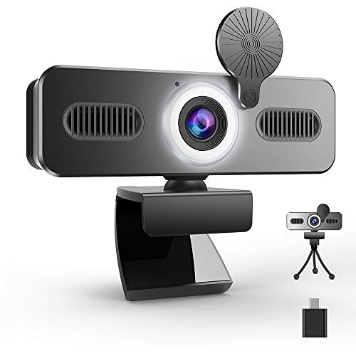 Belnk A9C Webcam mit Ringlicht, FHD 1080P Webcam mit Mikrofon und Streaming Webcam, Plug & Play Webkamera, Einstellbare Helligkeit, USB Webcam für PC Desktop Laptop MAC, Zoom Skype YouTube