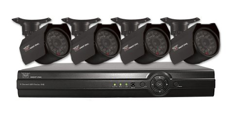 Night Owl Security ADV1-44500 4-Channel Security System with 500GB HD with 4 Indoor/Outdoor Cameras and  Pro App (Black)