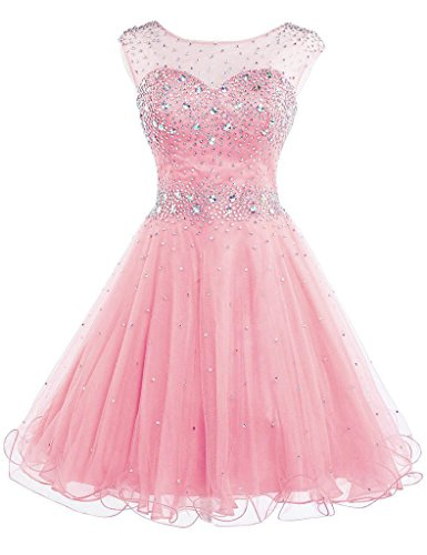 (Sarahbirdal Women's Sparkly Beaded Homecoming Dresses Knee Length Tulle Sequined Prom Gowns Short Pink US16)