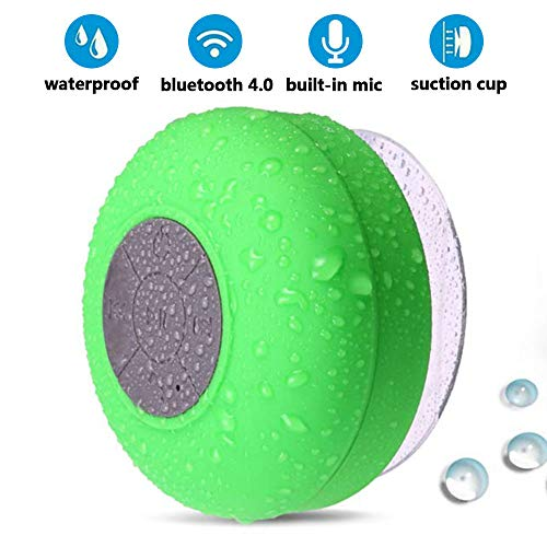 BoNBoN Shower Speaker Bluetooth Waterproof Water Resistant Handsfree Portable Wireless Shower Speaker,Build-in Microphone, Solid Suction Cup, 4 hrs Play Time,(Green)