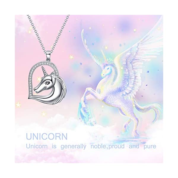 WINNICACA Sterling Silver Heart Unicorn Pendant Necklace Christmas Jewelry Gifts for Women 6