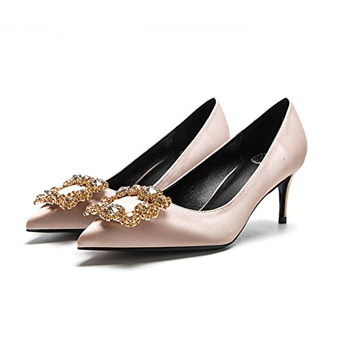 YIXINY Zapatos de tacón F338-4 Zapatos Mujer Seda + PU Rhinestone Fine Talón Apuntado Boca Poco Profunda Boda Zapatos De Tacón Alto Color Champagne ( Color : 6cm , Tamaño : EU36/UK3.5/CN35 ) 6cm