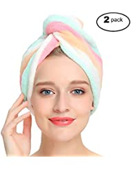 AuroTrends® Microfiber Hair Turban Wrap 2 Pack,Quick Dry Hair Towel Wrap Turban- Super Absorbent,Unique Design,2 Pack (For better water absorption,please wash and dry the towel before first use)