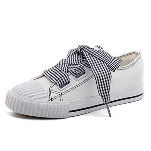 hasta Mujeres Zapatos Las Moda Planos Blancos Planas de Dulces Lona Blanco SHI de Zapatos RSvnPvxz