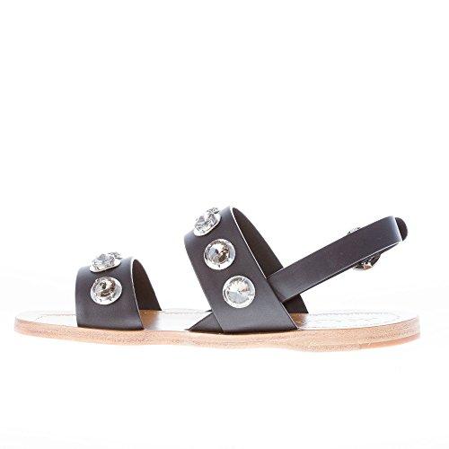 Donne Pelle Nera Nero Prada Cristallo Gommino Slingback Sandalo Scarpe In Abbellimenti rpI6Iwtq