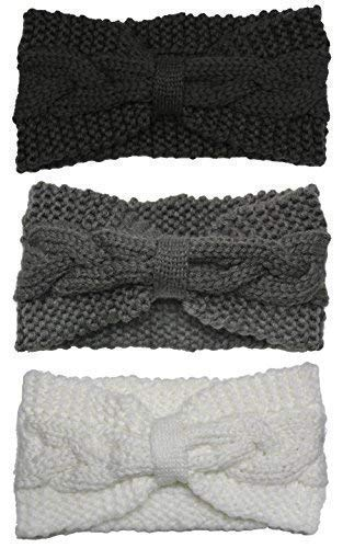 Bertelli 3 Pack Winter Knit Headband Hairband Ear Warmer Beanies