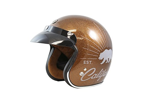 (TORC Unisex-Adult Open-face Style (T50 Route 66) 3/4 Motorcycle Helmet with Graphic (Rootbeer Grizzly) (Root Beer, Medium))