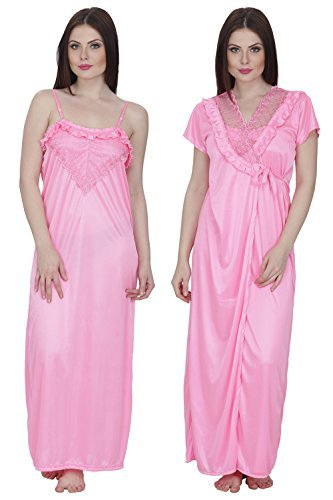 Women's Satin Nighty with Robe (Free Size)