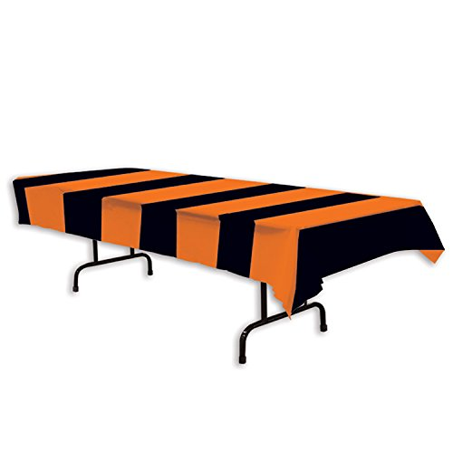 Beistle 00104 Orange and Black Stripes Tablecover, 54 x (Black And Orange Party Decorations)