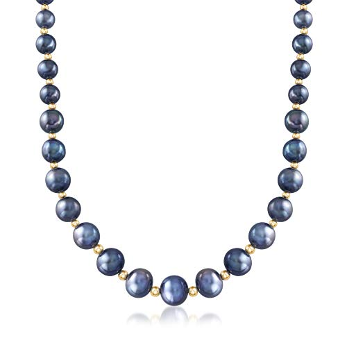 Ross-Simons 6-12mm Black Cultured Pearl Necklace With 14kt Yellow Gold