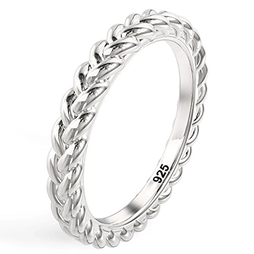 Metal Factory Sz 9 925 Sterling Silver Braid Style Stackable Eternity Ring