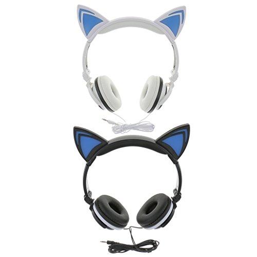 Price comparison product image MagiDeal 2pcs Foldable Cat Ear LED Music Lights Headphones Gaming Headset Earphone