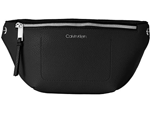 Calvin Klein Rachel Signature Belt Bag, Black/Silver