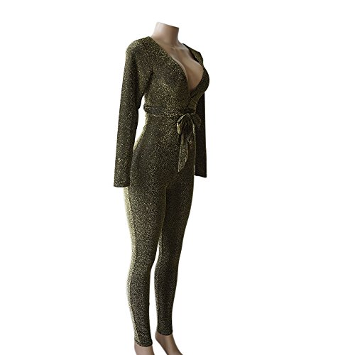 40dd0842d8 Longwu Women s Sexy Sparkly V Neck Long Sleeve Party Clubwear Bandage  Romper Jumpsuit  Amazon.co.uk  Clothing