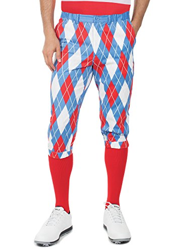Tipsy Elves Men's American Flag Argyle Golf Knickers- USA Golf Pants: Small Blue -